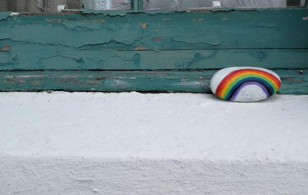 Rainbow on window sill