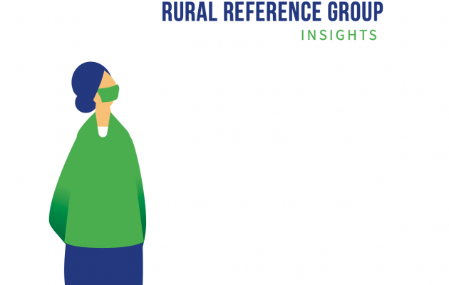 """Covid 19 Rural Reference Group Insights"" in green and blue text"
